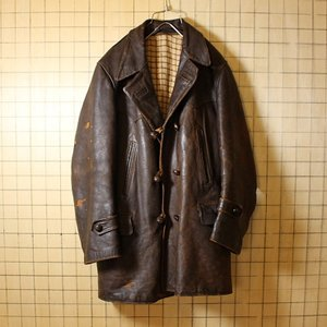 ヨーロッパ古着 ブラウン レザーハーフコート ジャケット 裏地チェックウール メンズXL相当 aw18|ataco-garage
