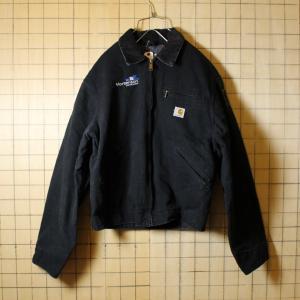 USA製 Carhartt カーハート 古着 ブラック 裏地ブランケット ダックジャケット メンズML相当 刺繍 aw36|ataco-garage