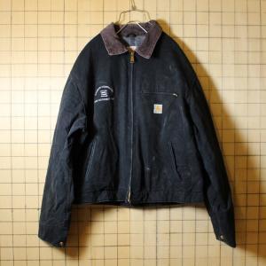 USA製 Carhartt カーハート 古着 ブラック 裏地ブランケット ダックジャケット メンズXL相当 刺繍|ataco-garage