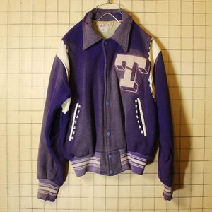 40s-50s USA製 Holt's ウール スタジャン アワード バーシティジャケット パープル メンズSM相当 ビンテージ 古着 ダメージ ワッペン|ataco-garage