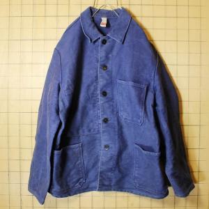 ドイツ モールスキン ワークジャケット ネイビー メンズL相当 紺 ブルー euro ヨーロッパ ビンテージ rofa 古着|ataco-garage
