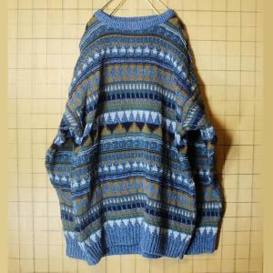 80s USA製 Eddie Bauer エディーバウアー 総柄 コットン ニット セーター メンズL ブルー 古着|ataco-garage