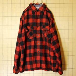 50s BRENT USA製 ウールシャツ ボックスチェック レッド 長袖 メンズL相当 古着|ataco-garage