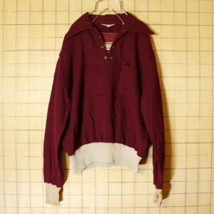 1950s Revere USA製 ウール シャツ エンジ レッド 長袖 プルオーバー メンズS 古着|ataco-garage
