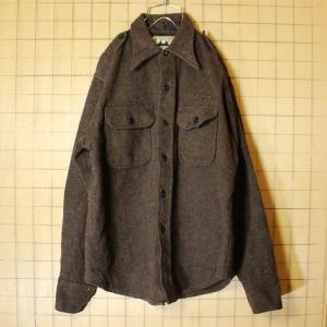 60s USA製 CARWOOD ウール CPO シャツ ジャケット ブラウン 長袖 メンズM 古着|ataco-garage