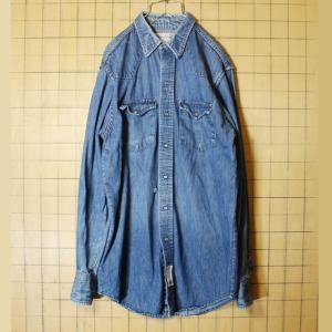 70s USA製 ROEBUCKS デニム シャツ 長袖 メンズM ブルー ダメージ Sears シアーズ 古着 ataco-garage