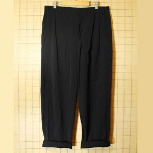 50s-60s ウール ツータック ワイド パンツ ブラック W36相当 ボタンフライ|ataco-garage
