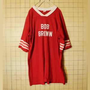 USA製 60s フットボール Tシャツ フロッキー 両面プリント レッド ナンバリング メンズL相当 古着|ataco-garage