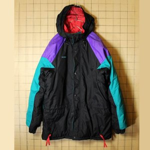 80s-90s Columbia コロンビア 中綿 ナイロン ジャケット パーカー ジップアップ ブラック メンズSM相当 レディースML 古着 フード ataco-garage