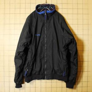 80s-90s Columbia コロンビア 中綿 ナイロン ジャケット 裏総柄フリース ジップアップ ブラック メンズM相当 レディースL相当 古着|ataco-garage