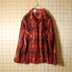 60s Sears 古着 レッド 長袖 ウール オンブレチェック オープンカラー ボックスシャツ メンズL相当 レッド 開襟 ataco-garage