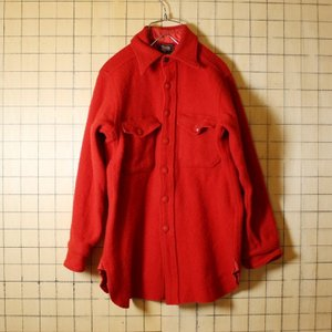 50s Woolrich USA製 古着 レッド 長袖 ウール マチ付きシャツ メンズXS相当 ウールリッチ ハンティング 黒タグ|ataco-garage