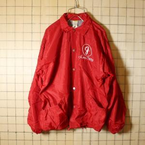 70s USA製 RUSSELL ATHLETIC 古着 ナイロン コーチジャケット レッド メンズS相当 チェーンステッチ ラッセルアスレチック 金タグ|ataco-garage