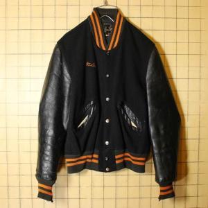 60s USA製 DeLong メルトンウール レザー スタジャン 袖革 チェーンステッチ アワード バーシティジャケット ブラック メンズS相当 古着|ataco-garage