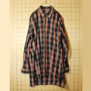 グランドファーザーシャツ ブラック ブラウン チェック グランパ プルオーバー メンズL相当 ビッグシルエット ヨーロッパ古着|ataco-garage