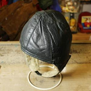 ビンテージ 本革 レザー ウールボア アビエーターキャップ パイロット フライト ブラック 黒 古着 メンズ レディース 帽子|ataco-garage