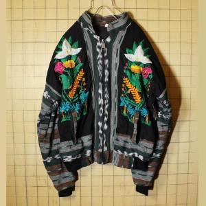 刺繍 グアテマラ ジャケット メンズL ブラック 黒 花 鳥 ガテマラ 古着|ataco-garage