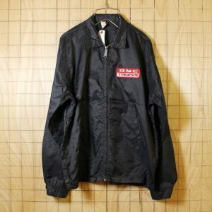 Louisville USA製70s古着 ブラック GMC TRUCKSワッペン ナイロンレーシングワークジャケット メンズM|ataco-garage