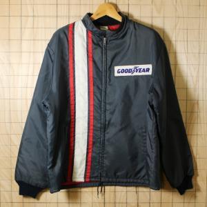 Horizon USA製古着ブラックGOOD YEARレーシングナイロン中綿ジャケット メンズXL ビッグサイズ|ataco-garage