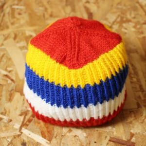 euro製古着レッド×イエロー×ブルー×ホワイト 赤 黄 青 白 イスラムワッチ風ニットキャップ ニット帽 ntc-16 ataco-garage