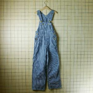 ビンテージ 70s古着USA アメリカ 製紺色 ネイビー ヒッコリーストライプキッズオーバーオール|ataco-garage