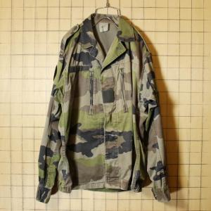 フランス軍 ミリタリー 迷彩 F2 フィールドジャケット カモフラージュ メンズML相当 カーキ グリーン ヨーロッパ古着|ataco-garage