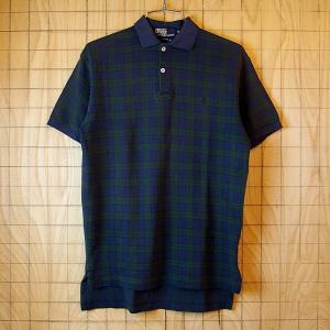 Polo USA アメリカ 製古着ネイビー 紺 ブラックウォッチチェック柄メンズ半袖ポロシャツ メンズSサイズポロ ラルフローレン|ataco-garage