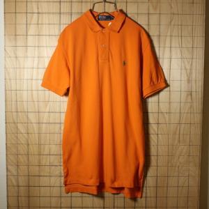 POLO by Ralph Lauren 古着 オレンジ コットン100%鹿の子生地ワンポイントポロシャツ メンズS|ataco-garage