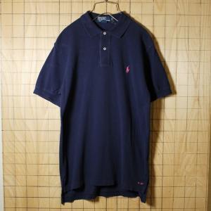 POLO by Ralph Lauren 古着 ネイビー コットン100%鹿の子生地ワンポイントポロシャツ メンズS|ataco-garage