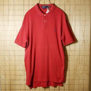 POLO by Ralph Lauren 古着 レッド 朱色 コットン100%ワンポイントポロシャツ メンズM|ataco-garage