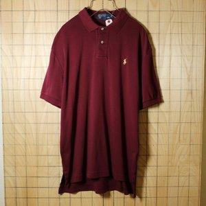 POLO by Ralph Lauren 古着 ワインレッド コットン100%ワンポイントポロシャツ メンズM|ataco-garage