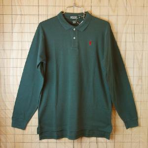 Polo 古着USA製グリーン 緑 メンズコットン100%長袖ポロシャツポロ ラルフローレン|ataco-garage