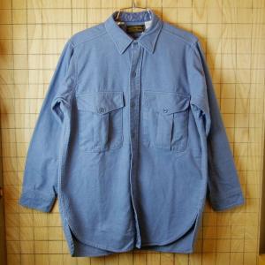 Eddie Bauerエディー バウアー 黒タグアメリカ古着ブルー 青 コットン100%シャツ サイズM|ataco-garage