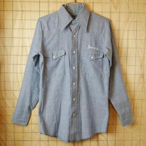 Wrangler 70sUSA製古着ブルーチェーンステッチNIMBLE-PORTLANDウエスタンシャツ シャンブレーシャツ サイズS相当 ataco-garage