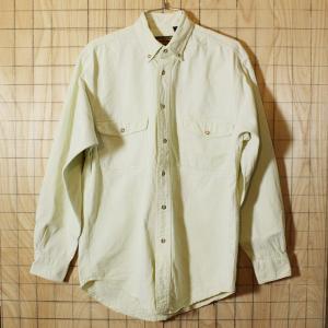 Eddie Bauer 古着ホワイトボタンダウンコットンシャツ ヘビーネルシャツ メンズS|ataco-garage