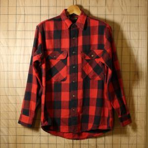 OSHKOSH USA製80sビンテージ古着レッド×ブラックバッファローチェックヘビーネルシャツ メンズMサイズ|ataco-garage