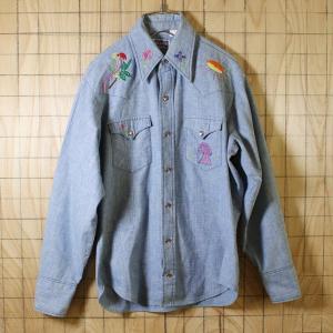 BIG SMITH USA製70sビンテージ古着 ブルー花 鳥刺繍シャンブレーシャツ メンズMサイズ相当|ataco-garage