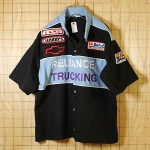 USA製古着 ブラック×ライトブルー モーター系ワッペン半袖ワークシャツ スタッフシャツ メンズXL|ataco-garage