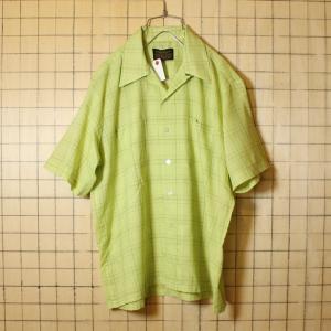 60s ビンテージ ボックス チェック シャツ 開襟 半袖 古着 ライトグリーン メンズL オープンカラー Sears シアーズ ataco-garage