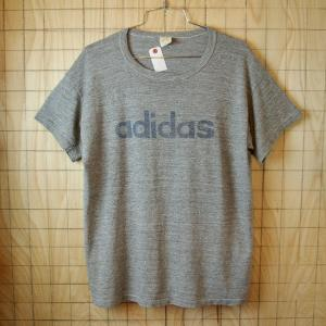 adidas×RUSSELL ATHLETIC USA製70sビンテージ古着霜降り杢グレー半袖プリントTシャツ サイズメンズL 金タグ|ataco-garage