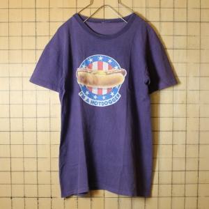 古着 プリント Tシャツ USA製 パープル プリント ホットドッグ 半袖 レディースサイズ ts492|ataco-garage