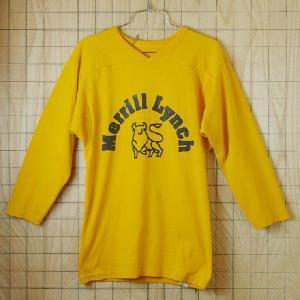 古着USA アメリカ 製イエローMerrill-Lynch7部袖企業ロゴプリントラグランVネックTシャツ|ataco-garage