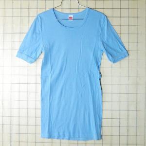 古着西ドイツ製 無地水色(ライトブルー)コットン100%ユーロTシャツ【con-ta】です。  ヨー...