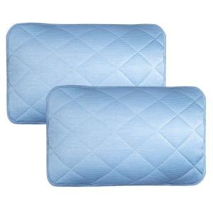 ひんやり 枕パッド 2枚セット 中綿入り 表地接触冷感 裏地タオル 枕カバー ゴムバンド付き 丸洗い...