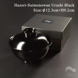 日本製 越前漆器 木製 4寸 羽反吸物椀 黒漆塗り atakaya 03