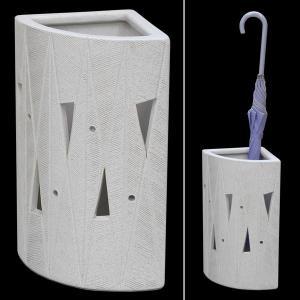 傘立て おしゃれ 和風モダン インテリア 陶器 信楽焼かさたて コーナー型白透し彫扇形 atarashi