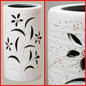 傘立て おしゃれ 和風モダン インテリア 陶器 信楽焼かさたて 花透かし彫りホワイトの写真