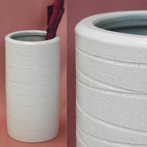 傘立てスリム 和風モダン  おしゃれインテリア 陶器 信楽焼 白横ライン ホワイト 新築祝|atarashi