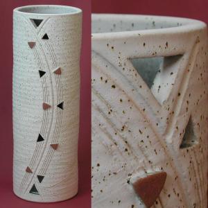傘立て おしゃれ 和風モダン インテリア 陶器 信楽焼かさたて スリムロングデザインかさたてL トライアングル atarashi