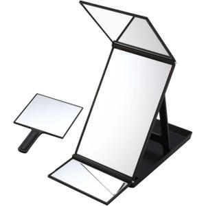 ヤマムラ ヘアカラーミラー ブラック ハンドミラー付き YHC-5000 毛染め用 三面鏡 atbijin